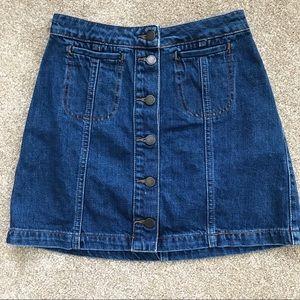 TopShop Moto Style Jeans Denim Skirt Button Front